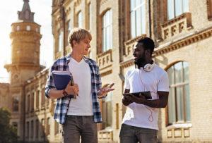 Positive self-talk: Two men walking and talking